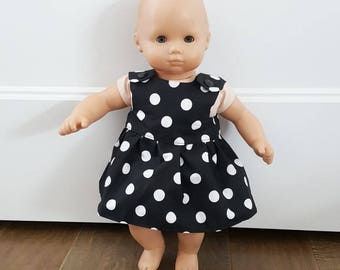 Bitty Baby Clothes -  Bitty Twin Doll Clothes - Bitty Baby Dress - Black and White Polka Dot Dress