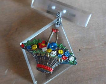 Absolutely Fabulous 1940's 1950's Lucite Dangling Brooch with Metal Painted Flowers in a Basket
