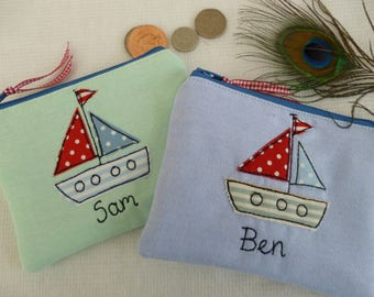 Handmade Personalised Children's Boys Wallet Purse Boat Ship Nautical on Blue or Green fabric matching boat lining Choice of name Boys Gift