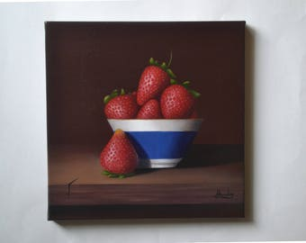 Original 10x10' small still life painting, red strawberry, kitchen artwork, fruit miniature, tiny, food, bowl, berries, acrylic, realistic
