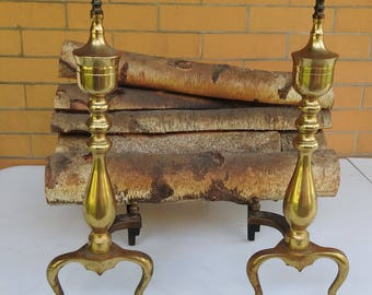 Vintage Colonial Revival Federal Style Americana Fireplace Brass Andirons/ Fire Dogs wth Electric Logs