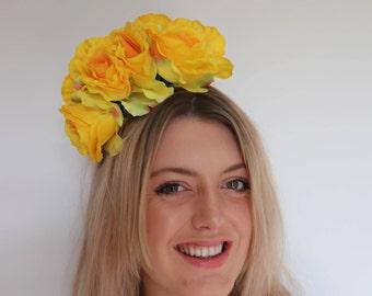Yellow Rose Frida Off-Center Flower Crown Headdress Festival Headpiece Fascinator