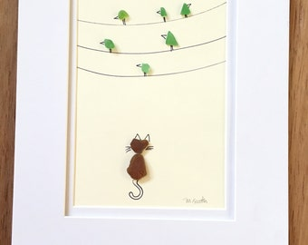 Sea Glass Art -  Kitten - Birds on a wire  - Cat + Birds - Nursey Decor