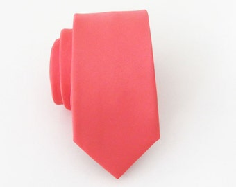Mens Tie Coral Skinny Necktie With *FREE* Matching Pocket Square Set