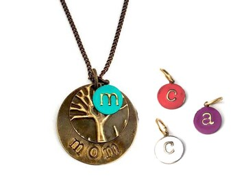 "Family Tree Necklace | ""Mom"" Stamped Necklace Gift for Mom 