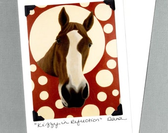 Funny Horse Card - Chestnut Quarter Horse on Polka Dots  - Horse Art  - Proceeds Benefit Animal Charity