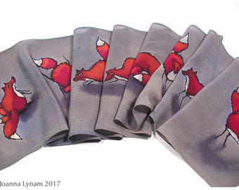 "SALE ~Hand painted silk scarf~Fox Silk Scarf~8x52""~Hand-painted silk scarf with Mama fox~Painted silk scarves~Silk scarf handpaint~Fox scarf"
