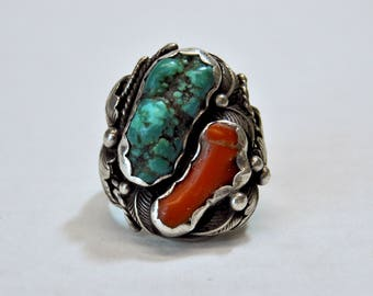 Vintage Coral and Turquoise Silver Ring