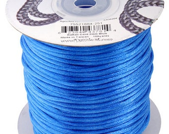 Blue Satin 2 mm Rattail Cord - 100 yd - 300 Ft - Full Spool - Kumihimo Cording