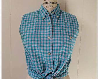 Vintage 1990s plaid NORTHERN REFLECTIONS sleeveless button up