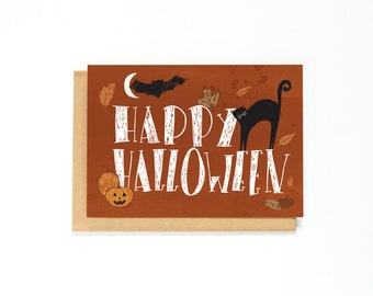 Halloween Card - Happy Halloween - Black Cat - Pumpkins - Fall Greeting Card - Autumn Greeting Card - Halloween Illustration - Just Because