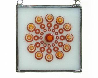 Orange Mandala Fused Glass Suncatcher Light Catcher