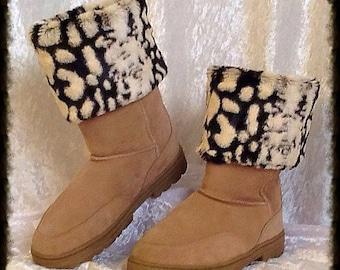 Short Pile Faux Fur Boot Cuffs in Camo Print, Dark Brown, with Cream Design