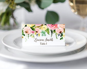 Place Cards Tented or Flat Wedding Birthday Personalized Printed - Romantic Floral Spray Collection