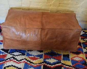 Moroccan leather, ottoman rectangular pouf, natural oiled handmade footstool