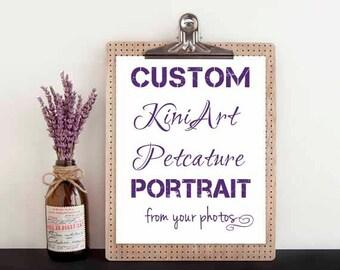 """Custom DRAWING KiniArt 4x4"""" Pet Portrait Art"""