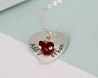 Personalized 20mm domed stylized heart name charm necklace w 2 birthstone crystals - Birthstone Necklace - Name necklace - Mother Necklace