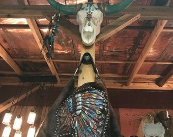 Multi Color Native American Chief Purse - Cow Hide - jewel