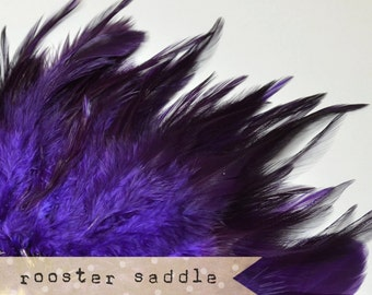 50 pcs+ - PURPLE - Rooster Saddle feathers - 2 inch strip - two-tone, pointy tip, shiny feathers, exotic feathers (RS012)