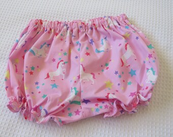 Baby bloomers -Pink bloomers -Unicorn print bloomers -Newborn bloomers-Bloomers 0-3 months-Summer shorts