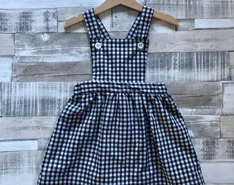 Girls Pinafore Dress - Gingham Dress - Baby Pinafore - Toddler Pinafore - Gingham Pinafore - First Birthday Dress