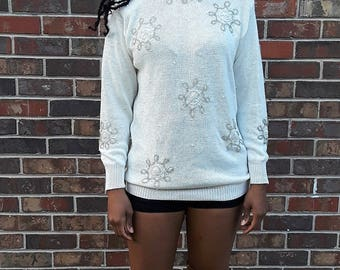 80s Fitted Ivory Beaded Sweater by DANA SCOTT