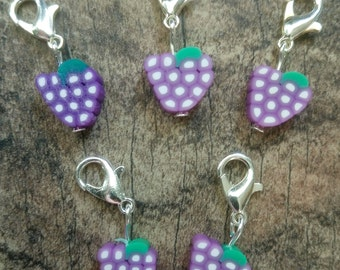 Grapes Fimo Stitch Marker Set