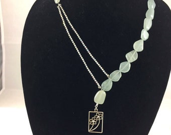 Aquamarine and Rhinestone Necklace