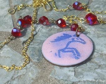 Pink Horse Enameled  Necklace