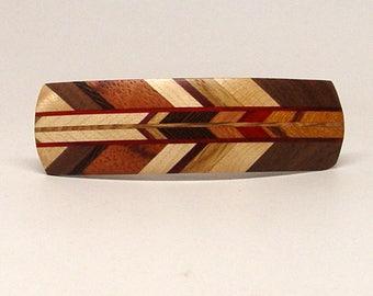 Wooden Hair Barrette, hair barrette, french clip, All Herringbone 6