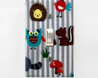 Woodland Light Switch Cover - Forest Friends Nursery - Grey Gender Neutral Switch Plate