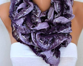 Purple & Lilac Knitted Ruffle Shawl,Summer Shirred Scarf, Cowl Scarf Gift Ideas For Her Women's Fashion Accessories,Birthday Gift