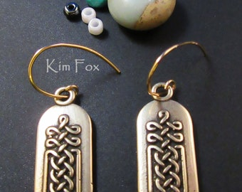 Celtic Knot Tabular Earrings in Sterling Silver or Golden Bronze with silver or gold fill ear wires - designed by Kim Fox - 2 sided