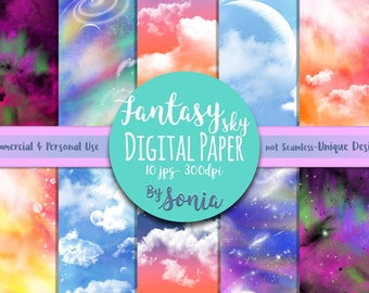 DIGITAL Download--Fantasy sky patterned paper.10 JPG designs,12x12 inches,300dpi. Commercial and Personal Use