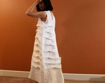 Alternative eco wedding linen spiral pleat dress made to measure listing / beach wedding dress / casual wedding dress / white linen wedding