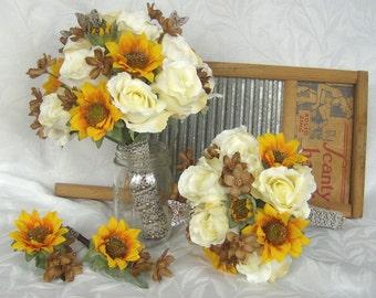Sunflower bridal bouquet sunflower roses wedding bouquet silk bridal bouquet 4 piece bouquet and boutonniere set