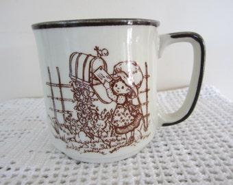 Vintage Holly Hobbie Stoneware Mug Friendship Quote Made in Japan