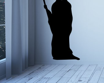 Halloween Wall Decal Grim Reaper Wall Decal Vinyl Grim Reaper Halloween Party Decor Scary Grim Reaper