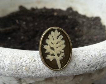 White Tree Ring, Floral Resin Ring, Nature Rings, Woodland Ring, Boho Jewelry, Botanical Ring, Bronze Resin Ring, Real Flower Tree Ring