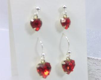 2 Pair Red Swarovski Heart Earrings on all fine  Sterling Silver  - mother daughter earrings
