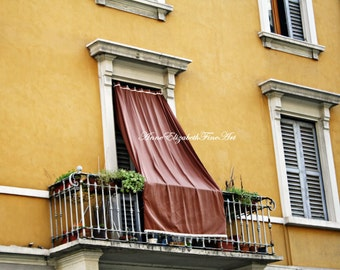 Italy Print ,Yellow, Color, Balcony, Window, Drapes,Shutters, Tuscan