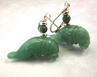 Manatee Carved Stone Earrings / Aventurine Green Drop Earrings / Manatee Jewelry / Ocean Jewelry / Artisan Jewelry / Gift for Animal Lovers