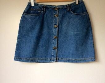 Ladies/vintage/denim/mini/skirt/1980s/1990s/trend/street style/fashionista/boho chic/medium/wardrobe staple/wardrobe basics