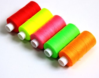 Neon fluorescent threads, sewing threads,bright sewing threads, flo threads, dressmaking supplies, sewing machine thread haberdashery, UK