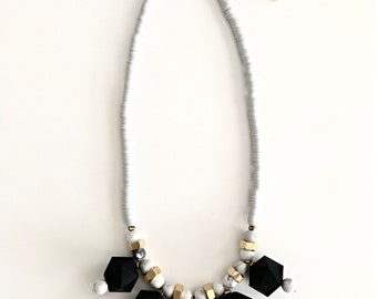 Chunky black necklace, geometric beads necklace, polymer clay discs, white beaded necklace, big beads necklace, Nulika