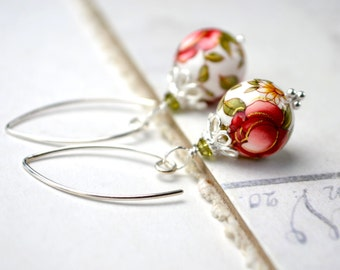 Red Rose Earrings, Japanese Tensha Bead Earrings, Sterling Silver Rose Pink Drop Earrings, Vintage Style Jewelry, Gift for Her, Mothers Day