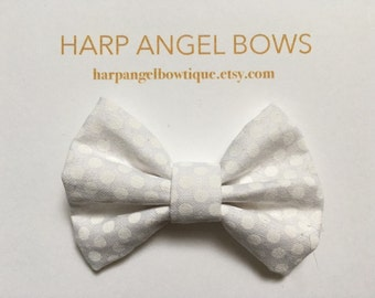 White Fabric Bow Nylon One Size Headband or Hair Clip Newborn / Baby / Toddler / Girls