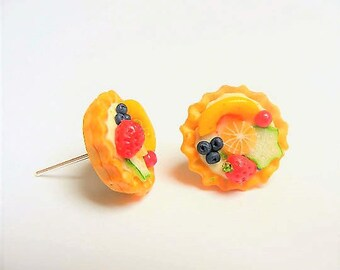 Food Jewelry Fruit Tart Earrings, Fruit Tart Jewelry, Fruit Earrings, Fruit Jewelry, Mini Food Jewellery, Polymer clay food, Miniature Food