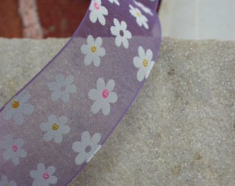 Purple Daisy flower 25mmx1metre veil Ribbon