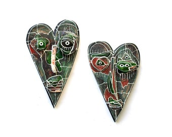 Ceramic black heart, Wall Sculptures, Love ornaments, Gift for couple, Ceramic wall art, Wall art sculpture, Valentine day art gift